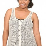 Torrid Ivory Allover Crochet Button Up Tank Top