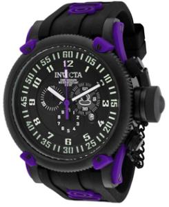 Men's Russian Diver Chronograph Black Dial Black Polyurethane