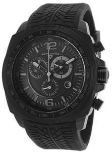 Sprinter Chronograph Black Tread Silicone Black Dial