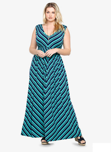 Mitered Striped Maxi Dress